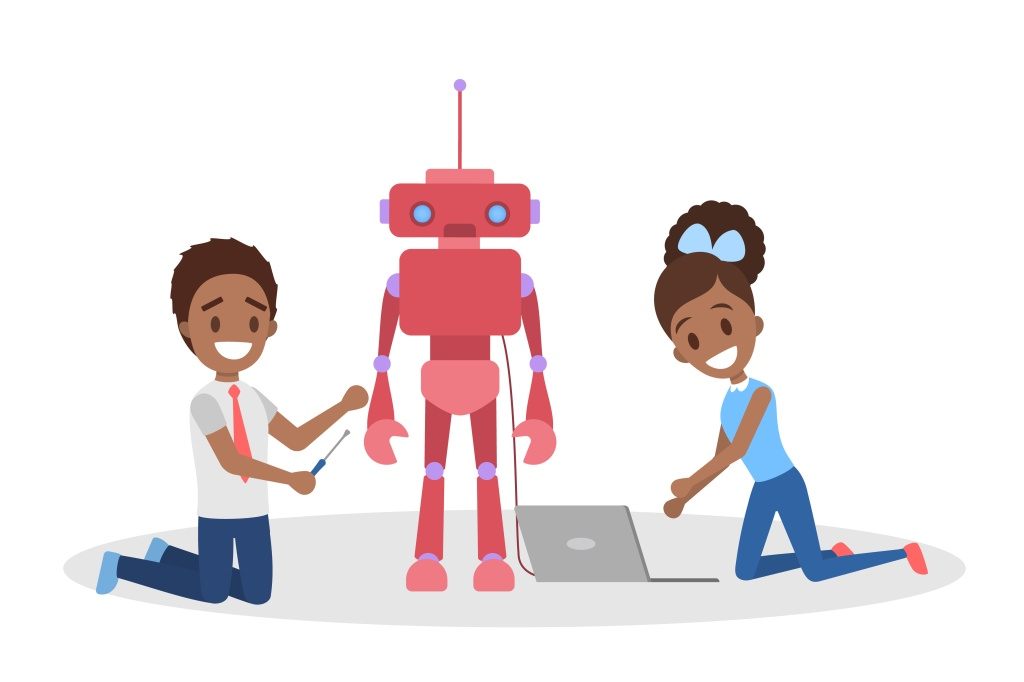 Little african american kids consctructing a red robot toy together. Happy children play and study electronics. Isolated flat vector illustration