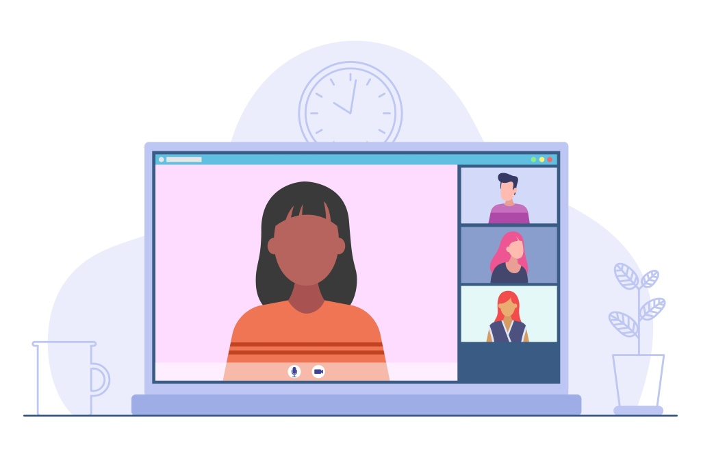 Video conference online. Desktop application for video meeting online. Flat modern style illustration. Concept of remote communication. Vector illustration isolated on white background