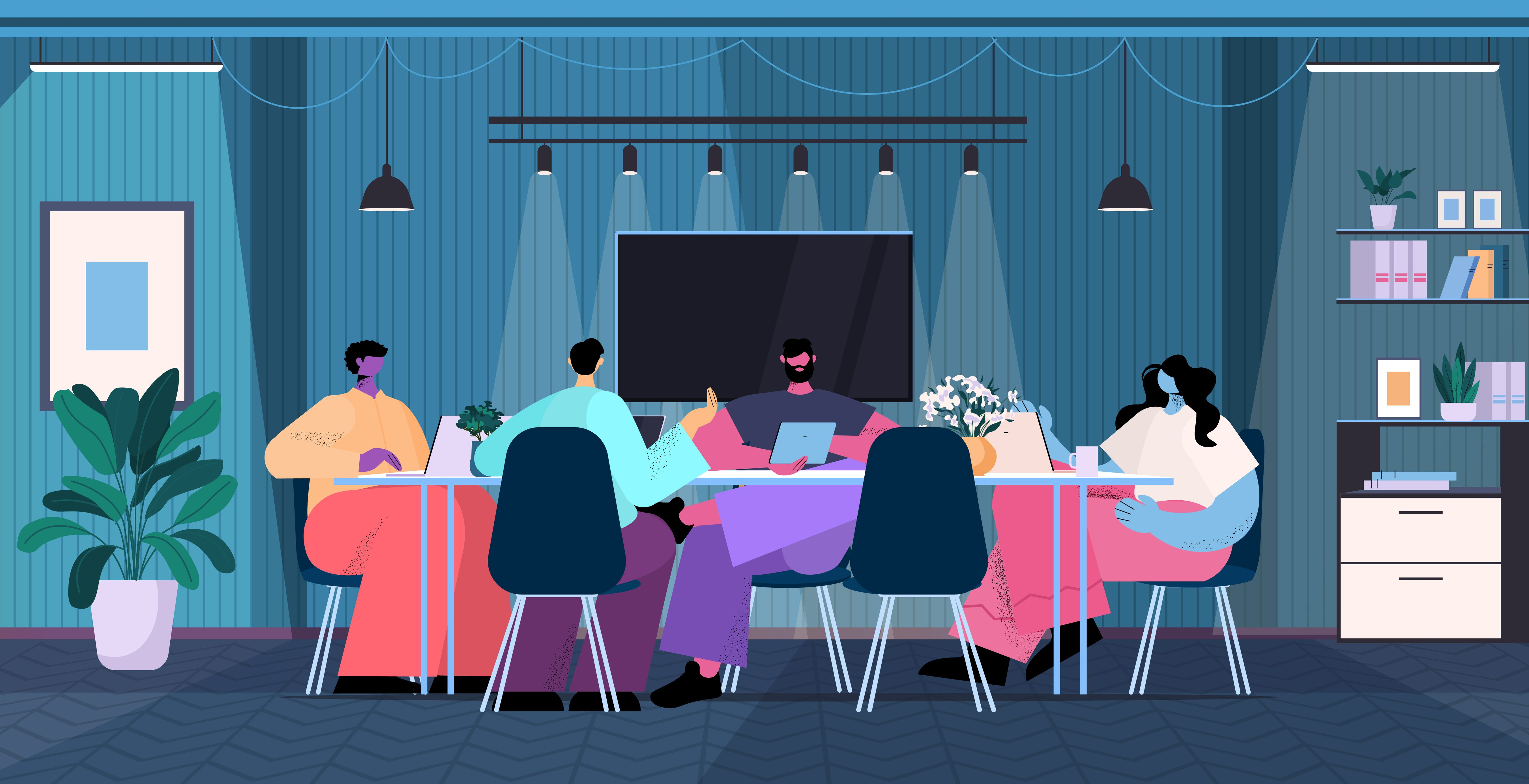 Team brainstorming at round table teachers and researchers working together in dark night office teamwork concept horizontal full length vector illustration